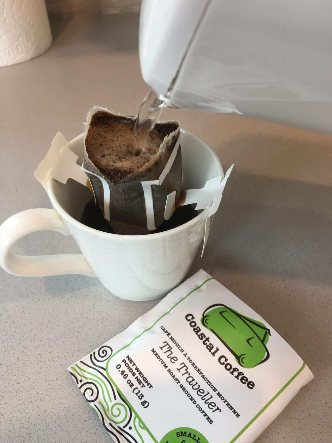 The Traveller pour over coffee single serve packet